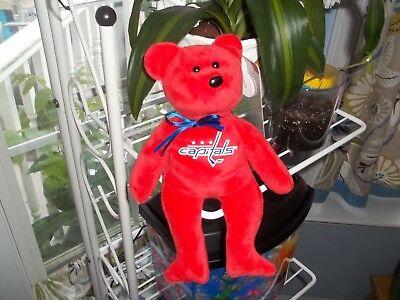 New 2018 NHL Washington Capitals Hockey Ty Beannie Baby Bear.  Rocking The Red!