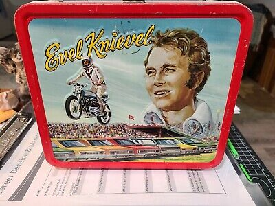 1974 Evel Knievel Vintage Metal Lunchbox WITH thermos