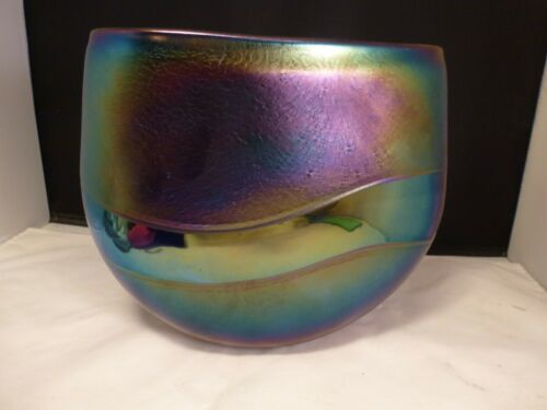 ROBERT HELD IRIDESCENT STUDIO ART AMETHYST IRIDESCENT  GLASS VASE SIGNED