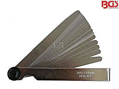 BGS 3083 20 Blatt 0,05-1,00mm Fühlerlehre Messlehre Spaltlehre Spion Blattlehre