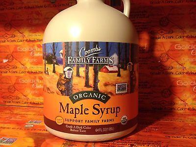 1 half gallon(64oz) Coombs Organic Maple Syrup Grade A Dark Robust, GF, exp 2019