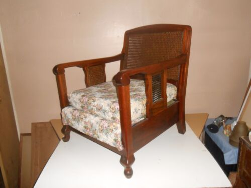 Gothic Style Ornate Cane Back Chair With  Curled Arms