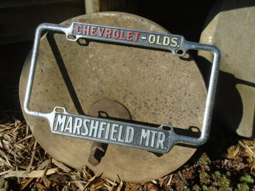 Vintage MARSHFIELD Missouri Chevrolet Oldsmobile LICENSE Plate FRAME