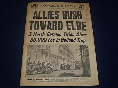 1945 April 10 New York Daily News   Allies Rush Toward Elbe Headline   Np 1776