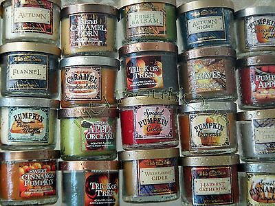 1 BATH BODY WORKS HOME WHITE BARN AUTUMN FALL WINTER MINI TRAVEL CANDLE U CHOOSE