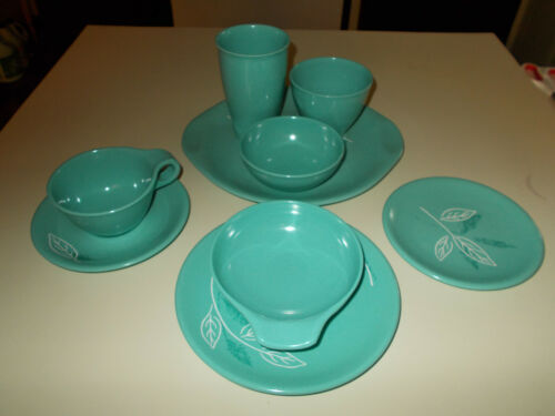 9 pc Russel Wright Blue Ranchland Melmac Place Setting by Home Decorators (D)