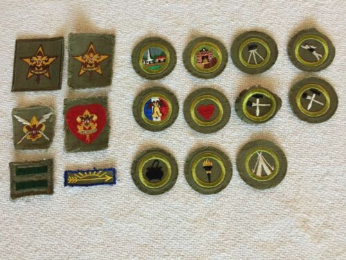 1950-60s BSA Lot of Khaki Merit, Rank Badges, Patches