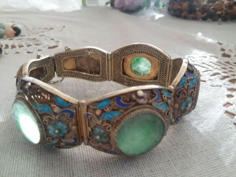 Antique/Vintage Chinese Jade Enamel Cloisonne Silver Bracelet