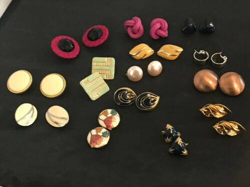 14 PAIR VINTAGE CLIP EARRINGS FUN STYLES & COLORS GREAT SHAPES