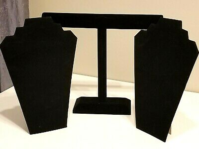 Lot Of 3 Jewelry Displays Black Velvet Coated Necklace Displays Stands