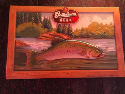 Vintage Gettelman Beer Composite Sign Trout