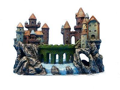 CASTLE & BRIDGE ON ROCK CLIFFS 25139 AQUARIUM DECOR POLYRESIN TANK - Castle Decorations