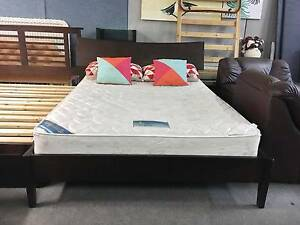 DELIVERY TODAY BEAUTIFUL CHOCOLATE WOODEN Queen bed & mattress Belmont Belmont Area Preview