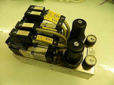 Lot of 4 Norgren V405523D Valves w/ Manifold & 2 - SPC/020240, Off Chiron Used