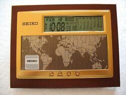 SEIKO EXECUTIVE DESK WORLD TIME DIGITAL CLOCK/CALENDAR - NEW