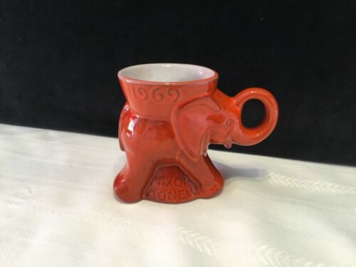 Vintage 1969 Frankoma Nixon Agnew Orange GOP Ceramic Elephant Mug Cup (H48)