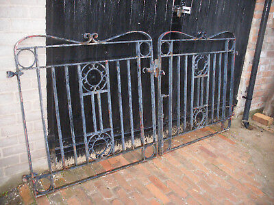 Pair of large and heavy reclaimed wrought iron driveway gates