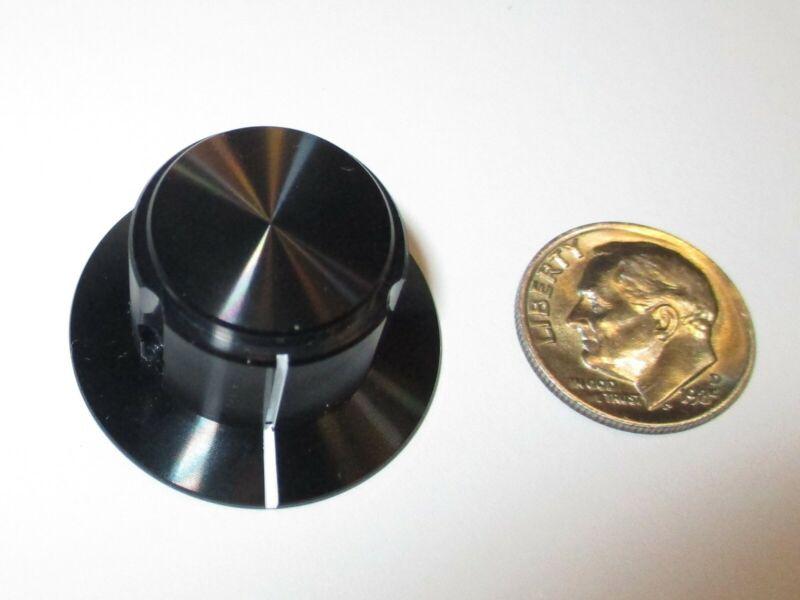 """ALCO SOLID ALUMINUM  KNOB FOR 1/4"""" SHAFT   BLACK W/SKIRT   NOS"""