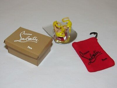 Christian Louboutin Barbie Shoes Yellow Ankle Strap Sandals Heels w/ Bag & Box