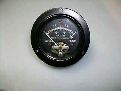 A M Instrument 2 12 Round 0-300 V. Dc. Panel Meter