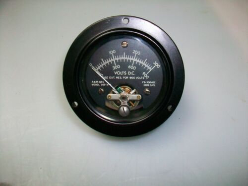 "A & M INSTRUMENT 2 1/2"" ROUND 0-300 V. Dc. PANEL METER"