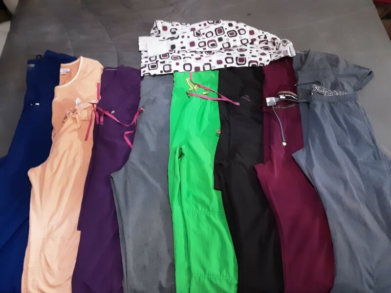 Lot 8 Sets of Womens Scrub and 1 Jacket (pre-owned)