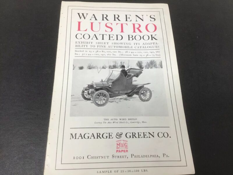 Warrens Lustro Coated Book Automobile Catalog Exhibit Sheet 1900s Pope Toledo