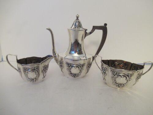 Vintage 3 pc. Sterling Silver Tea Set Black Starr & Frost REPOUSSE -Fine Cond.