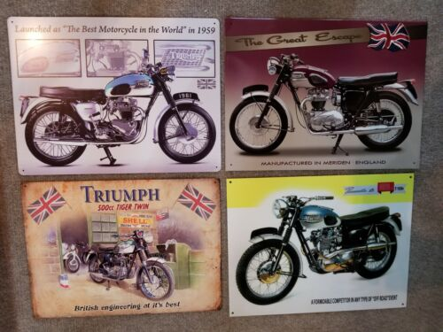 Collection of FOUR Triumph Motorcycle Metal Signs 12 x16 Plus FREE Triumph Flag