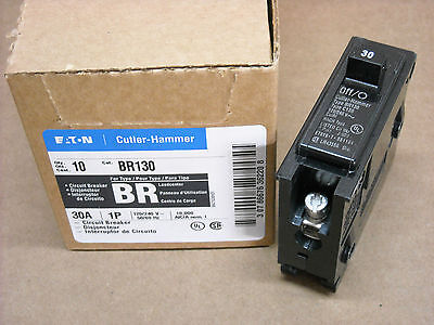 Box Of 10 Cutler Hammer Br130 Circuit Breakers 30 Amp 1 Pole 120240 Volt