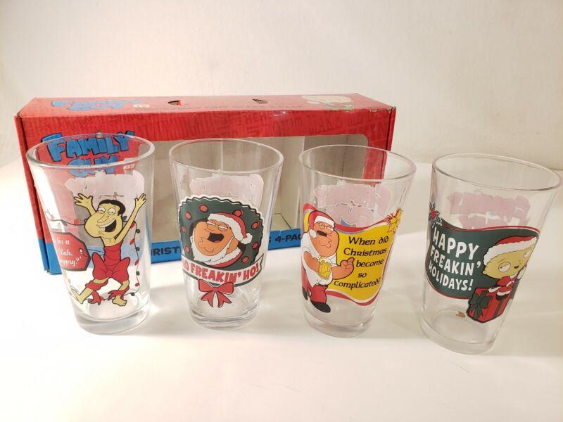 Family Guy Drink Glasses 4 Pack 16 OZ Pint Beverage Christmas Glass
