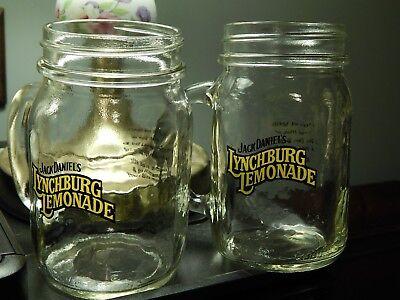 Jack Daniel's ~Lynchburg Lemonade~ [LOT of 2] Mason Drinking Jars w/ Recipes Ltd