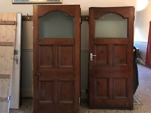 Set Of 9 Solid Wood Victorian Internal Doors with glass panel 1901