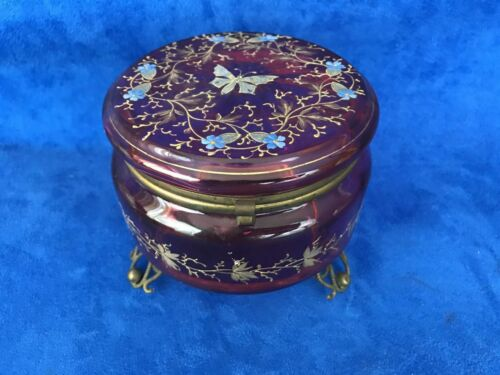 ANTIQUE CRANBERRY HAND PAINTED AND RAISED GOLD BOX BUTTERFLY & FLORAL