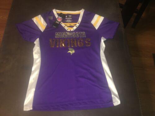 New NFL Minnesota Vikings Team Apparel Womens Ladies Size Small Neck TShirt