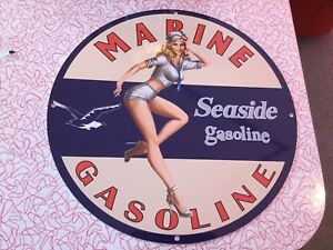 Seaside gasoline reproduction gas pump signs
