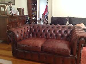Moran Chesterfield 2 seat sofa (Leather) - Maroon/Ox Blood colour Yarraville Maribyrnong Area Preview