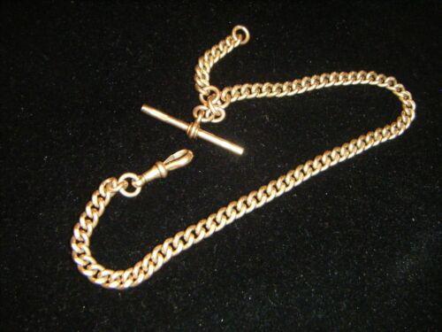 9ct Solid Rose Gold Antique Single Albert Watch Chain Birmingham Hallmark 38.7gr