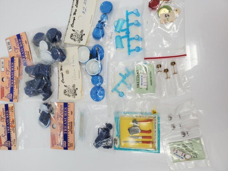 NOS Miniature Dollhouse Blue Speckled Pots Pans Chrysnbon Brass Accessories #3