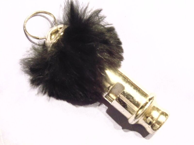 Vtg Ladies Fur Trimmed gold tone Police Whistle Damsel Distress Safety Pendant