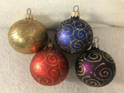Christmas ornaments set of 4 glass balls Diff Colors & gold glitter swirl CH5787
