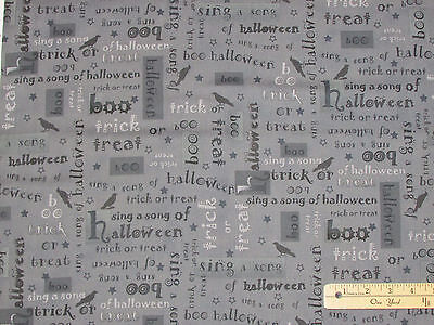 Not So Spooky Black Cat Black/Gray Words Halloween Fabric by the 1/2 Yd  - The Words Halloween