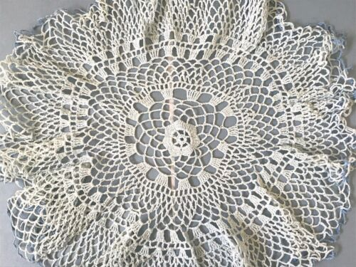 Antique Hand Crochet Crocheted Blue Ruffled Lace Round Doily Table Centerpiece