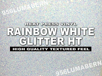 8x5 Feet Rainbow White Glitter Heat Transfer Vinylt-shirt Thermal Press Roll