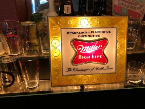 VINTAGE BREWERIANA: Miller High Life Champagne of Bottle Beer Lighted Sign WORKS