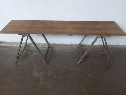 B28083 Vintage Rustic Timber Trestle Dining Table Cafe Restuarant Mount Barker Mount Barker Area Preview