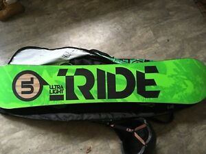 RIDE HIGHLIFE UL SNOWBOARD, BOOTS, AND BINDINGS