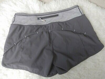 Lululemon Women Run Speed Shorts Black Grey Stripe Lined Workout Athletic Yoga 6