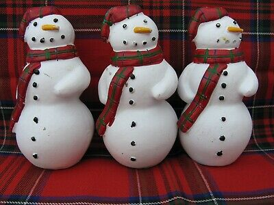 3 X VINTAGE CHRISTMAS TREE SNOWMAN DECORATIONS - ORNAMENTS .