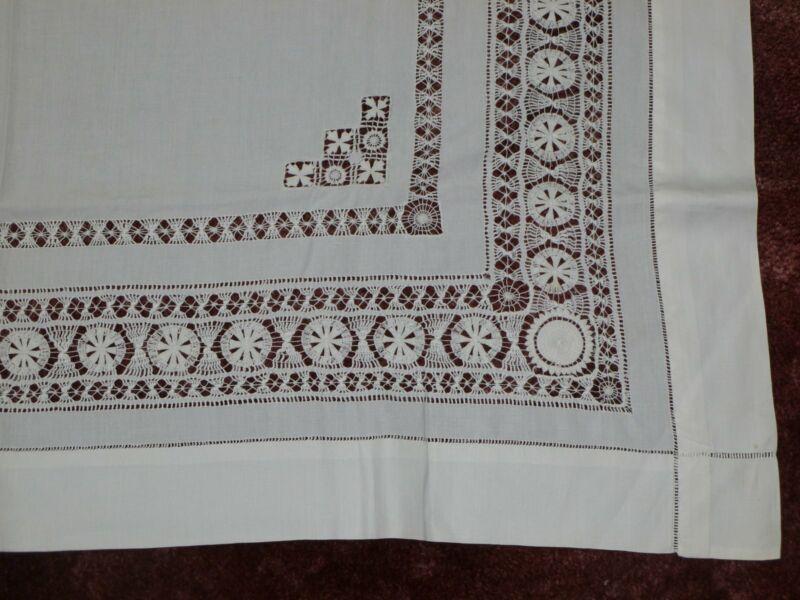Antique Vintage TableCloth drawn thread work reticella teneriffe Lace 43x 41